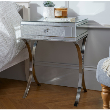 Porto Mirrored Bedside Table