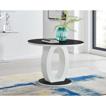 Giovani High Gloss And Glass 100cm Round Dining Table