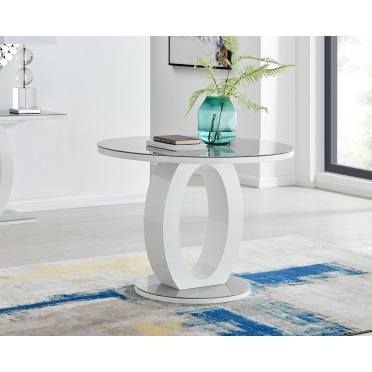 Giovani Grey White High Gloss And Glass 100cm Round Dining Table