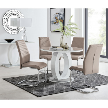 Giovani Grey White High Gloss And Glass 100cm Round Dining Table And 4 Lorenzo Chairs Set
