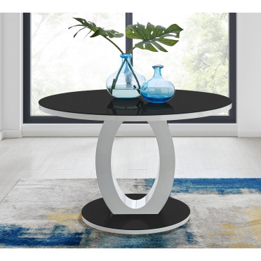Giovani High Gloss And Glass Large Round Dining Table
