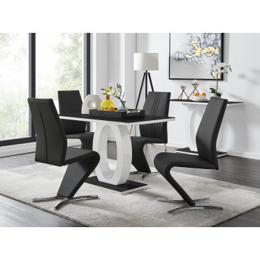 Giovani Black White High Gloss Glass Dining Table and 4 Willow Chairs Set