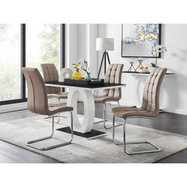 Giovani Black White High Gloss Glass Dining Table and 4 Murano Chairs Set