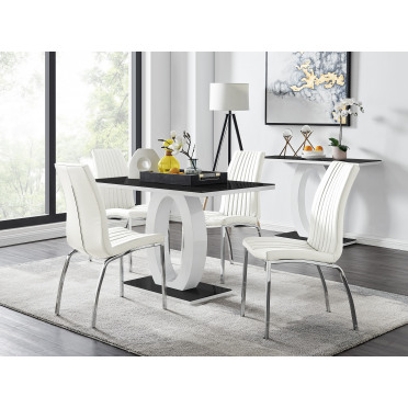 Giovani 4 Black Dining Table & 4 Isco Chairs