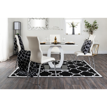 Giovani Black White High Gloss Glass Dining Table and 4 Andora Chairs Set