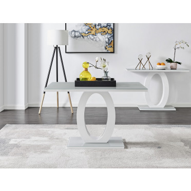 Giovani 4 Grey White Modern High Gloss And Glass Dining Table