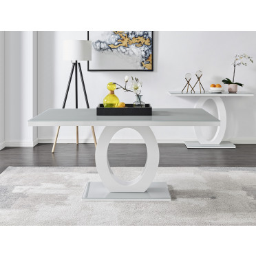 Giovani Grey White Modern High Gloss And Glass Dining Table