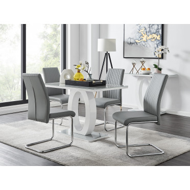 Giovani Grey White Modern High Gloss And Glass Dining Table And 4 Lorenzo Chairs Set