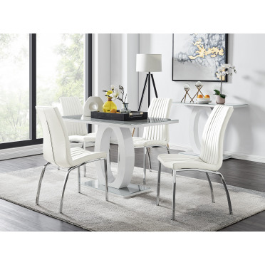 Giovani 4 Grey Dining Table & 4 Isco Chairs