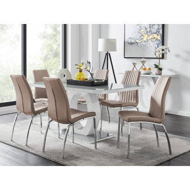 Giovani 6 Grey Dining Table & 6 Isco Chairs