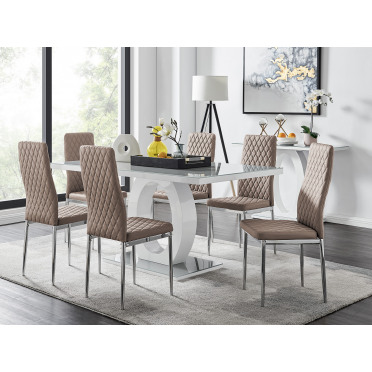 Giovani Grey White Modern High Gloss And Glass Dining Table And 6 Milan Chairs Set