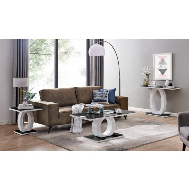 Giovani Black White High Gloss Glass Console Coffee End Side Table Set
