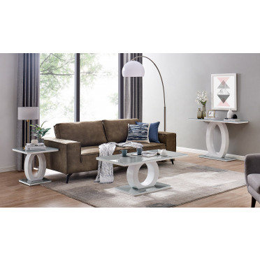 Giovani Grey White High Gloss Glass Console Coffee End Side Table Set