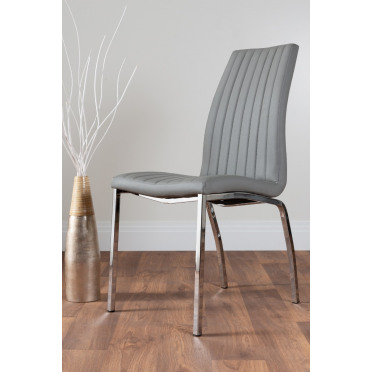 2x Isco Faux Leather Upholstered Grey Chrome Dining Chairs