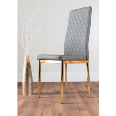 6x Milan Grey Gold Hatched Faux Leather Dining Chairs