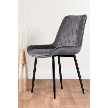 2x Pesaro Grey Velvet Black Leg Luxury Dining Chairs