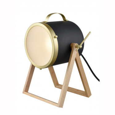 Hollywood Black and Brass Table or Floor Lamp with Wood Stand