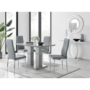 Imperia 4 Modern Grey High Gloss Dining Table And 4 Modern Milan Chairs Set