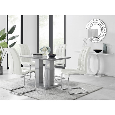 Imperia 4 Modern Grey High Gloss Dining Table And 4 Murano Chairs Set