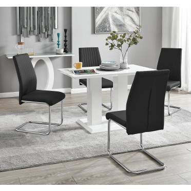 Imperia 4 Modern White High Gloss Dining Table And 4 Lorenzo Chrome Dining Chairs Set