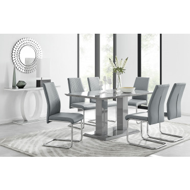 Imperia Grey Modern High Gloss Dining Table And 6 Lorenzo Dining Chairs Set