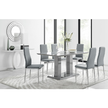 Imperia Grey Modern High Gloss Dining Table And 6 Milan Dining Chairs Set