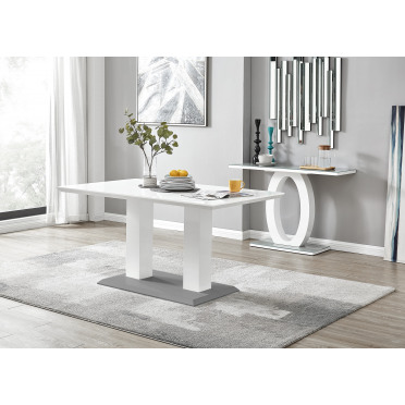 Imperia White/Grey High Gloss Dining Table