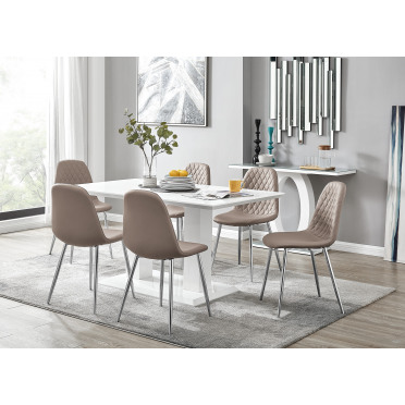 Imperia White High Gloss Dining Table And 6 Corona Silver Chairs Set