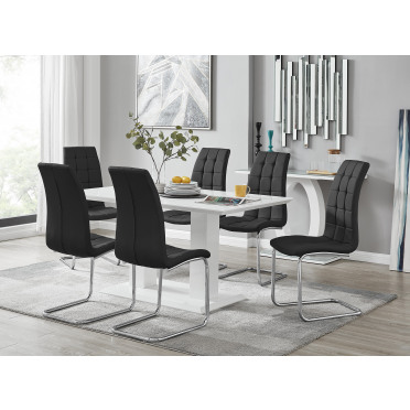 Imperia White High Gloss Dining Table And 6 Murano Chairs Set