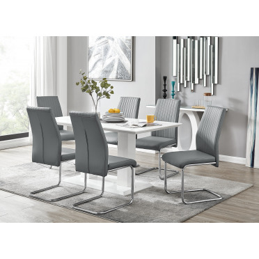 Imperia White High Gloss Dining Table And 6 Lorenzo Dining Chairs Set