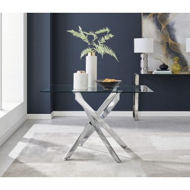 Leonardo 4 Glass And Chrome Metal Dining Table
