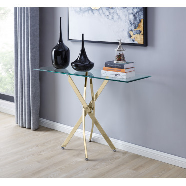 Leonardo Glass And Gold Metal Console Table