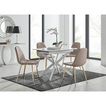 LIRA 100 Extending Dining Table and Corona Gold Leg Chairs