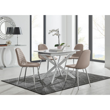 LIRA 100 Extending Dining Table and Corona Silver Leg Chairs