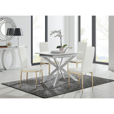 LIRA 100 Extending Dining Table and Gold Leg Milan Chairs
