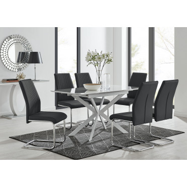 LIRA 120 Extending Dining Table and 4/6 Lorenzo Chairs