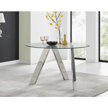 Lugano Round Glass and Chrome Dining Table