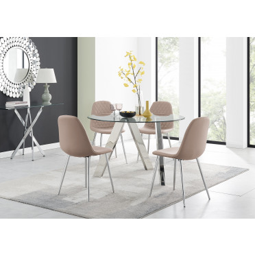 Lugano Round Dining Table and 4 or 6 Corona Silver Leg Chairs