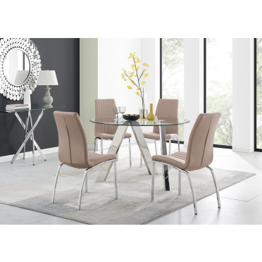 Lugano Round Dining Table and 4 or 6 Isco Chairs