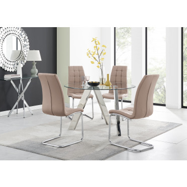 Lugano Round Dining Table and 4 or 6 Murano Chairs