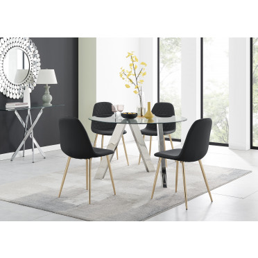 Lugano Round Dining Table and 4 or 6 Corona Gold Leg Chairs