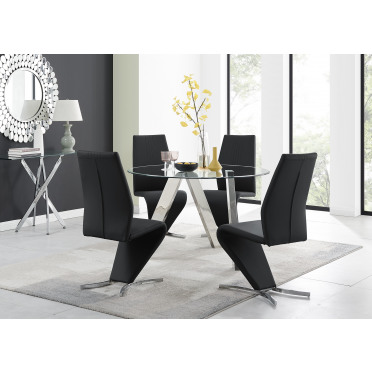 Lugano Round Dining Table & 4 or 6 Willow Chairs