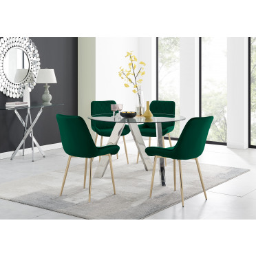 Lugano Round Dining Table and 4 or 6 Pesaro Gold Leg Chairs