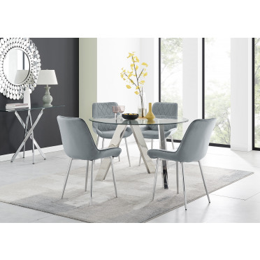 Lugano Round Dining Table and 4 or 6 Pesaro Silver Leg Chairs