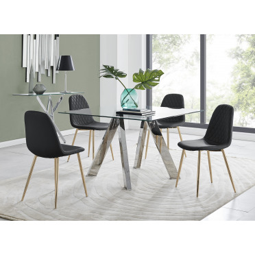 Lugano Square Dining Table & 4 Corona Gold Chairs