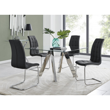 Lugano Square Dining Table & 4 Murano Chairs
