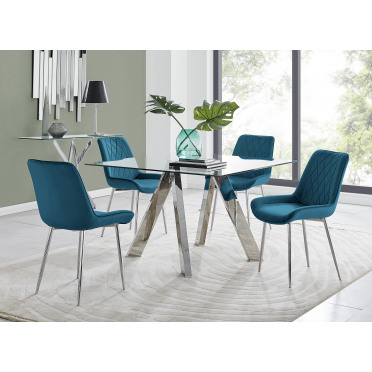 Lugano Square Dining Table And 4 Pesaro Silver Leg Chairs