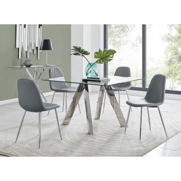 Lugano Square Dining Table & 4 Corona Silver Chairs