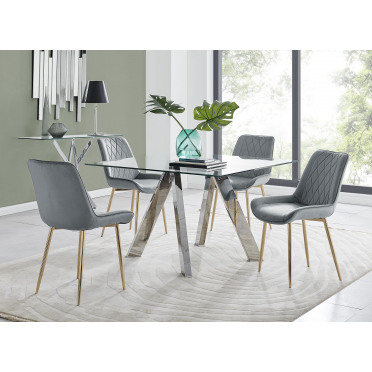 Lugano Square Dining Table And 4 Pesaro Gold Leg Chairs