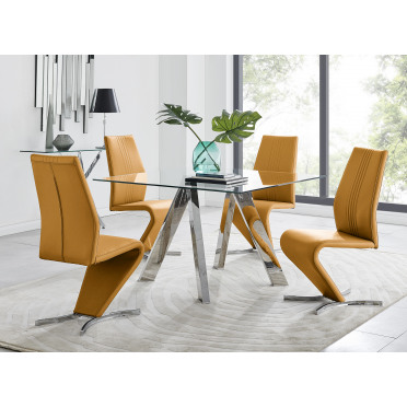 Lugano Square Dining Table & 4 Willow Chairs